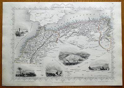 NORTHERN AFRICA, MOROCCO, ALGERIA, TUNISIA,  J.RAPKIN original antique map c1850