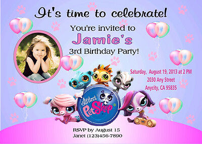 LITTLEST PET SHOP CUSTOM PRINTABLE BIRTHDAY PARTY INVITATION & FREE TY CARD