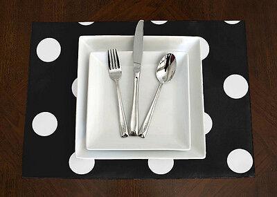 Set of 4 -Sweet Jojo Designs Black & White Polka Dot Placemats Table Topper