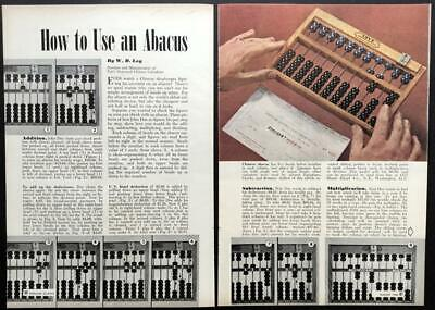 """""""How to Use an Abacus"""" 1948 pictorial article Loys Chinese Calculator"""