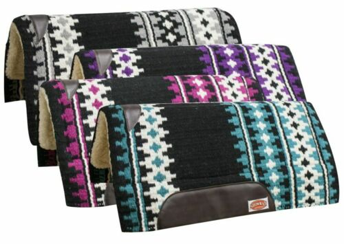 BLACK PINK PURPLE TEAL 34x36 Wool Cutter Style Western Saddle Pad w/ MEMORY FELT
