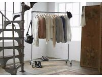 Brave interiors industrial clothes rail with top shelf