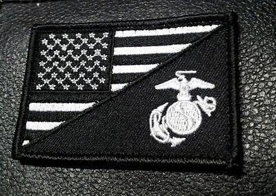 USA FLAG MARINE CORPS USMC B/W TACTICAL MORALE HOOK PATCH (WHT/BLK)