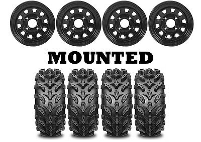 Kit 4 Interco Swamp Lite Tires 29.5x10-12 on ITP Delta Steel Black Wheels IRS