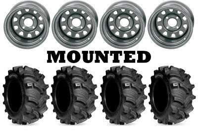Kit 4 Kenda Executioner Tires 25x8-12/25x10-12 on ITP Delta Steel Silver IRS