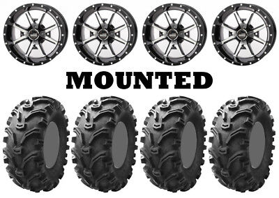 Kit 4 Kenda Bearclaw K299 Tires 26x9-12/26x11-12 on Frontline 556 Machined IRS