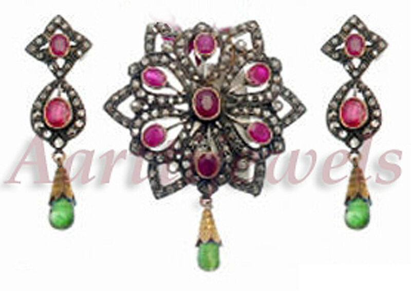Victorian 3.21ct Rose Cut Diamond Ruby Emerald Pendant Set Vintage VTJ EHS