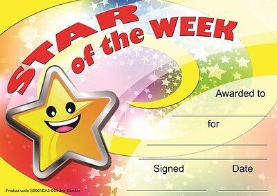 30 Star of the Week award certificates for school teachers, A5 silk finish - Star Of The Week