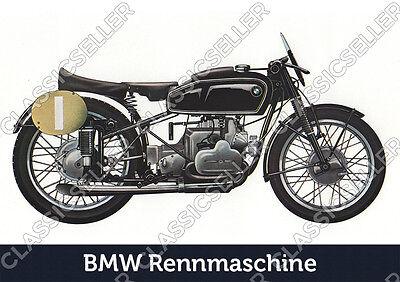 BMW Rennmaschine Motorrad Poster Plakat Bild Schild Deko Art Print Motorcycle gebraucht kaufen  Löhne