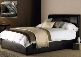 == 4ft 6 Double == 4ft Small double == Ottoman Side Opening Bed & Mattress - Black Brown White