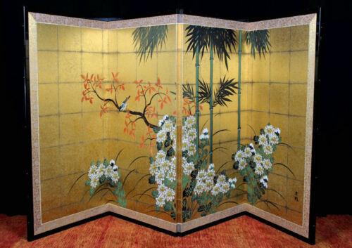 "Hand painted silk Byobu folding screen Japanese signed, flowers & gold leaf 36"""