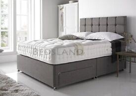 Linen Look new Grey Divan Bed with Headboard and Mattress