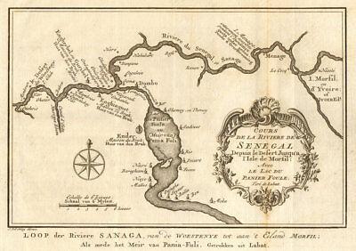 'Cours de la Rivière de Sénégal' Senegal River Lac Guiers BELLIN/SCHLEY 1747 map