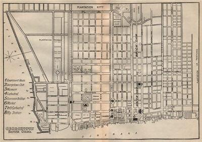 GEORGETOWN. Vintage town map. British Guiana (Guyana) /Guyana. Caribbean 1914