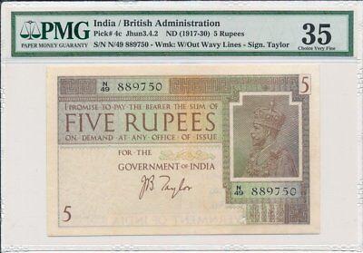 British Administraion India  5 Rupees ND(1917-30)  PMG  35