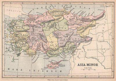 ANCIENT TURKEY. 'Asia Minor'. Provinces. BARTHOLOMEW 1878 old antique map