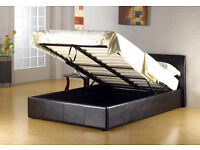 BRAND NEW DOUBLE LEATHER STORAGE OTTOMAN GAS LIFT UP BED FRAME ON SPECIAL OFFER, KINGSIZE AVAILABLE