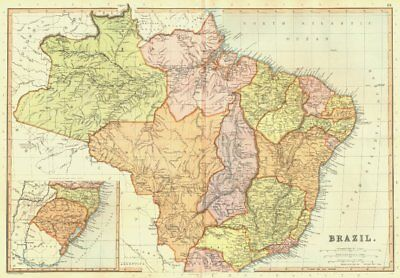BRAZIL. showing states. Railways. Scale in Portuguese Leagues.BLACKIE 1893 map