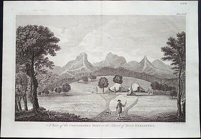 Antique map, A view of the Commodores tent at the island of Juan Fernandes