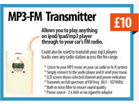 FM transmitter for Car Radio's (wirelessly plays your iphone's MP3 music through to your car radio)