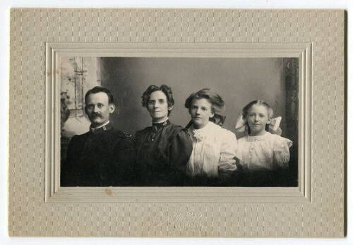 c1900 Mounted Photo of Family, Man & Wife in Salvation Army Uniforms, Boise, ID