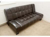 Italian faux leather sofabed Sofa Bed, almost new, Real Bargain - Wimbledon