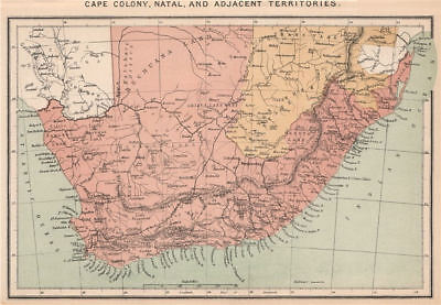 Cape Colony, Natal, and adjacent Territories. South Africa 1885 old map