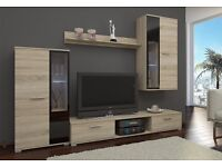 MODERN WALL UNIT *SALSA* ,ENTERTAINMENT UNIT, TV UNIT,2 x CABINETS, HANGING SHELF,NEW HIGH QUALITY
