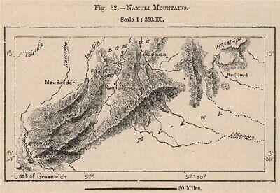 Namuli Mountains. Mozambique 1885 old antique vintage map plan chart