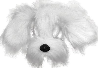 White Puppy Dog Mask on Headband