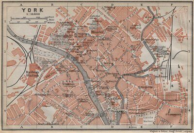 YORK antique town city centre plan. Yorkshire. BAEDEKER 1910 old map