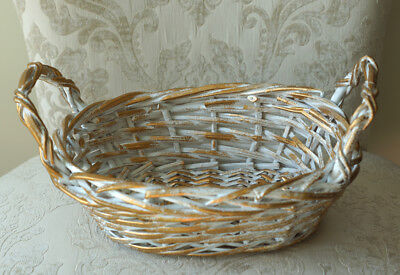 Distressed Gold Finish (Distressed Finish, White and Gold Wicker Basket with 2 side handles, 11 x 9 x 6)