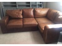 TAN BROWN LEATHER CORNER SOFA   MUST GO ASAP   VERY GOOD CONDITION   CHEAP  DELIVERY