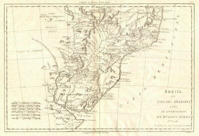 Bresil… avec le Gouvernement de Buenos-Ayres. S Brazil Uruguay. BONNE 1790 map