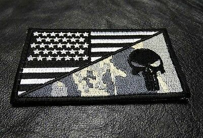 PUNISHER SKULL USA AMERICAN FLAG ARMY 3.5 INCH MORALE ACU HOOK PATCH