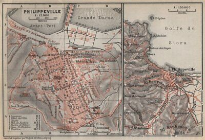 PHILIPPEVILLE / SKIKDA town city plan & environs. Algeria carte 1911 old map