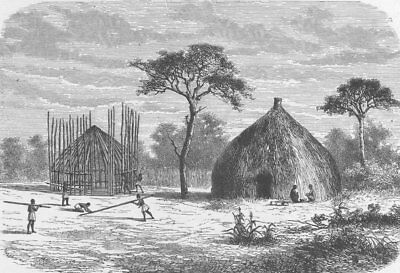 CENTRAL AFRICA. Hut-building in a village of Uhiya, Central Africa 1891 (Building A Hut)