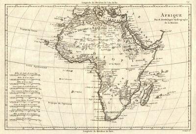 Afrique. Pre-colonial Africa. BONNE 1789 old antique vintage map plan chart