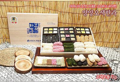 Traditional Korean Rice Honey Cookies Hangwa  Paulownia Wood Box Gift Set 1kg