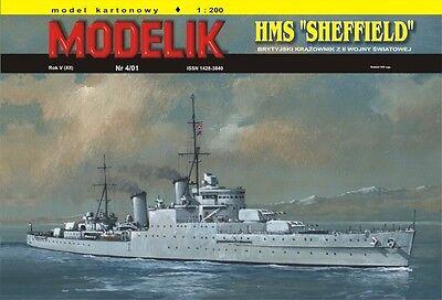 Modelik 04/01 - Leichter Kreuzer SCHEFFIELD  mit Lasercutteilen   1:200