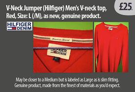 V-Neck Jumper (Hilfiger) Mens V-neck top, Red, Size: L(M), as new, genuine product.