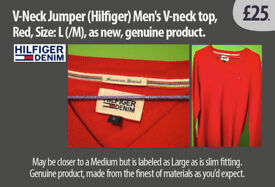 V-Neck style Jumper (Hilfiger) Mens, Red, Size: L(M), new, genuine product.