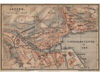 ST town city stadtplan Switzerland Suisse Schweiz BAEDEKER 1905 map GALLEN