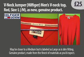 (Hilfiger) Men's V-neck top, Red, Size: L (/?M), as new, genuine product.