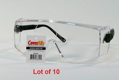 10 Clear Lens Safety Glasses Coveralls 6880 Over The Glasses Black Bulk Lot