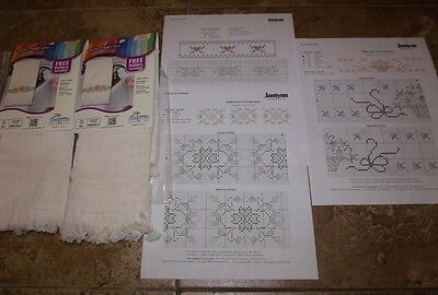 "2 Janlynn Stichables IVORY Cross Stitch TOWELS with Extra Patterns 12"" x 20"""