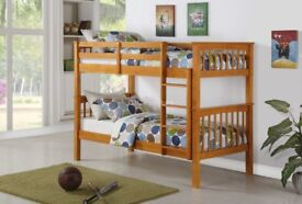 BRAND NEW SINGLE WHITE WOODEN BUNK BED -- WHITE AND PINE COLOURS ==GET THE BEST SELLING BRAND===