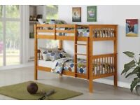 KIDS BUNK BED-Splitable into two-Single Wooden Bunk Bed Frame in White and Oak Color Options