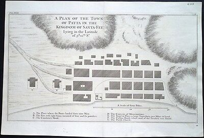 Antique map, Payta in the kingdom of Santa Fee lying in the latitude 5° 12' S