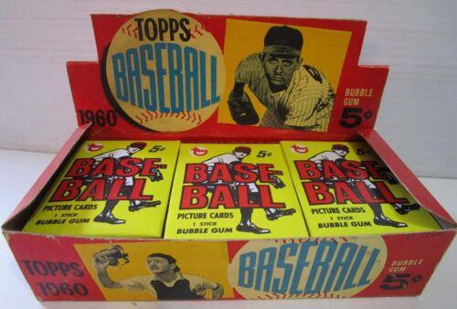Topps 1960 Baseball Gum Card Display Box 5 cent & 3 packs REPRODUCTION